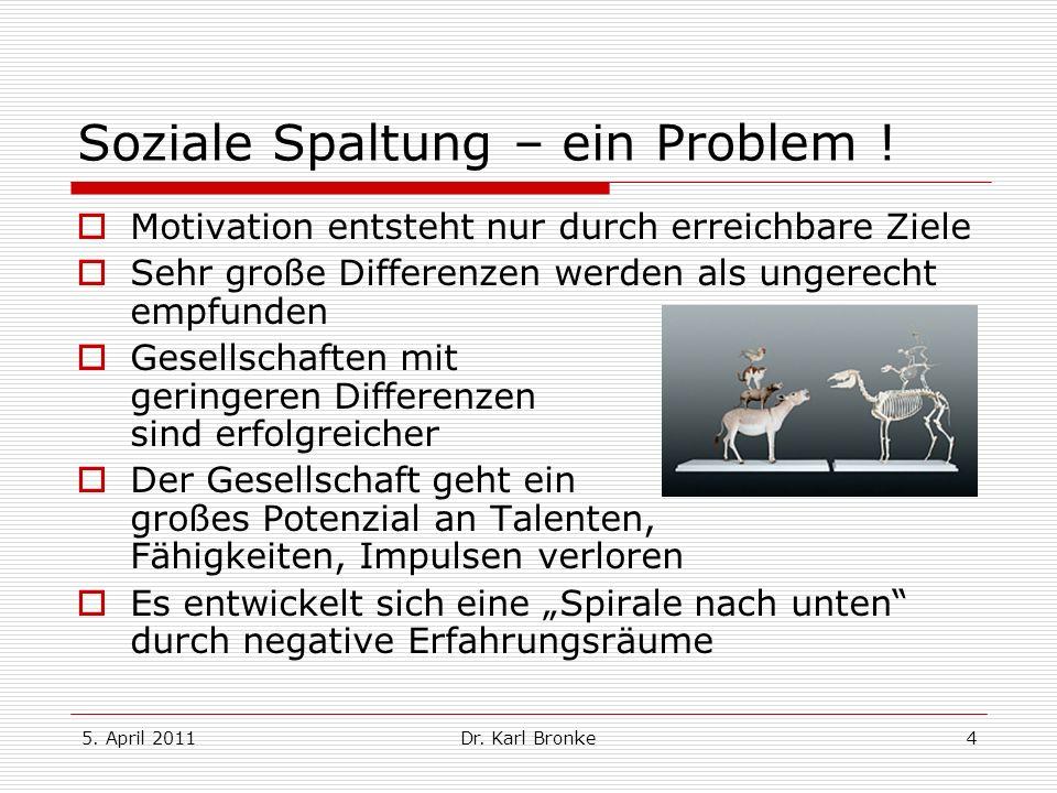 5. April 2011Dr. Karl Bronke4 Soziale Spaltung – ein Problem ! Motivation entsteht nur durch erreichbare Ziele Sehr große Differenzen werden als unger