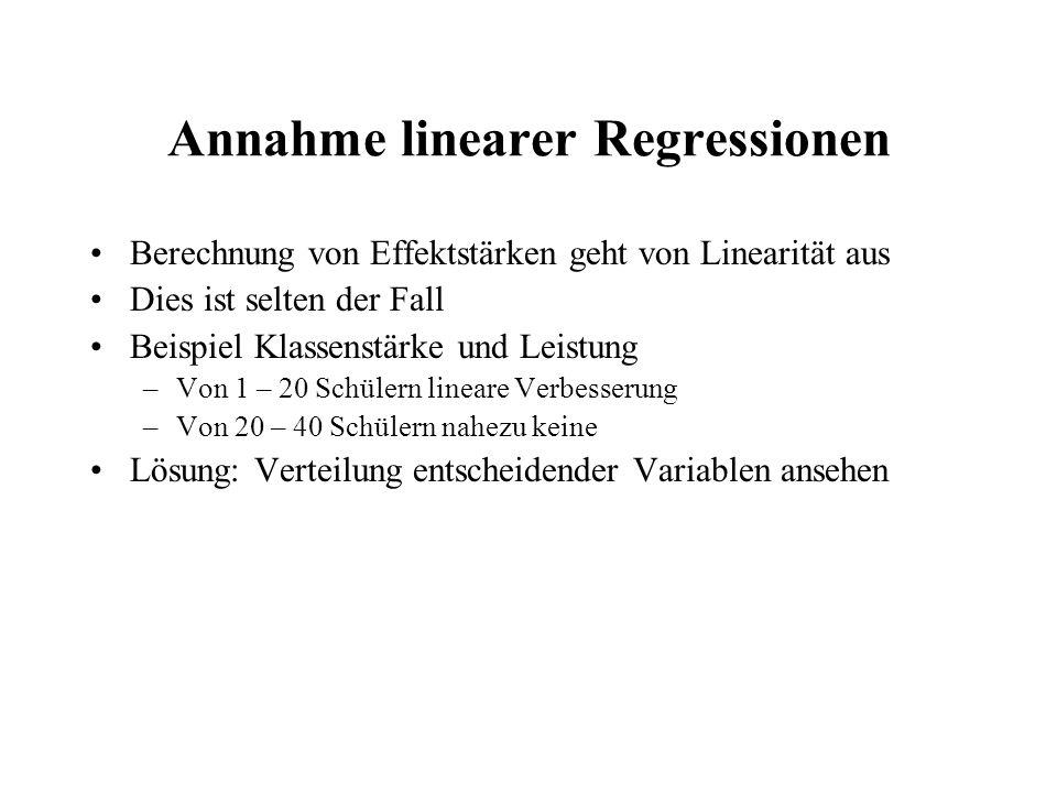 Annahme linearer Regressionen Berechnung von Effektstärken geht von Linearität aus Dies ist selten der Fall Beispiel Klassenstärke und Leistung –Von 1