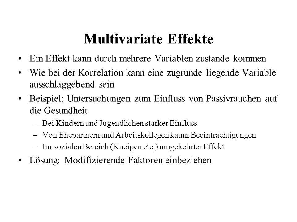 Multivariate Effekte Ein Effekt kann durch mehrere Variablen zustande kommen Wie bei der Korrelation kann eine zugrunde liegende Variable ausschlaggeb
