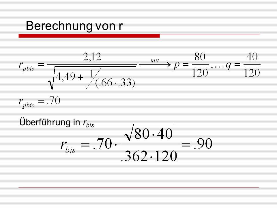 Berechnung von r Überführung in r bis