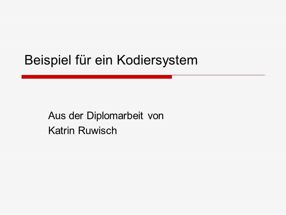 Beispiel für ein Kodiersystem Aus der Diplomarbeit von Katrin Ruwisch