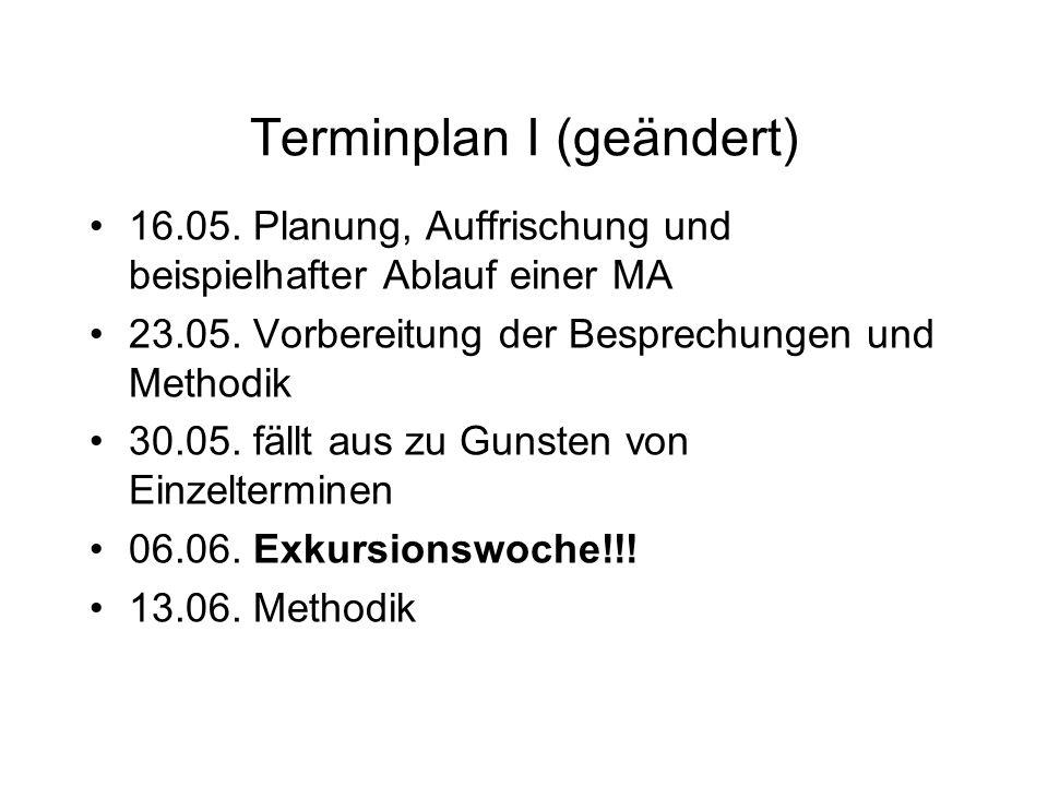 Terminplan I (geändert) 16.05. Planung, Auffrischung und beispielhafter Ablauf einer MA 23.05. Vorbereitung der Besprechungen und Methodik 30.05. fäll