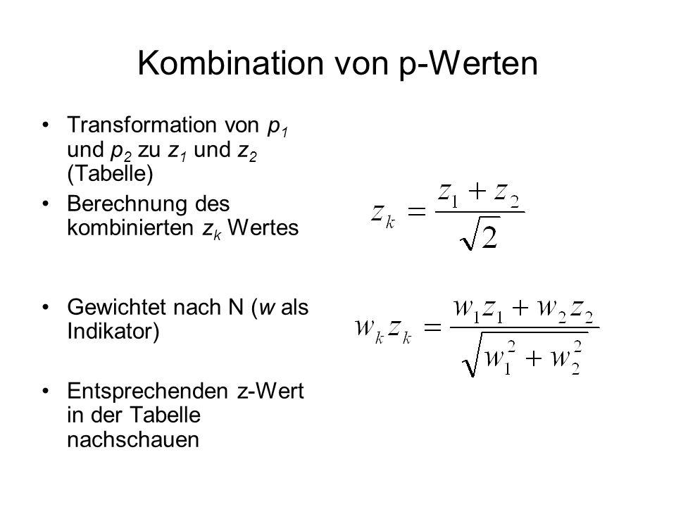 Kombination von p-Werten Transformation von p 1 und p 2 zu z 1 und z 2 (Tabelle) Berechnung des kombinierten z k Wertes Gewichtet nach N (w als Indika