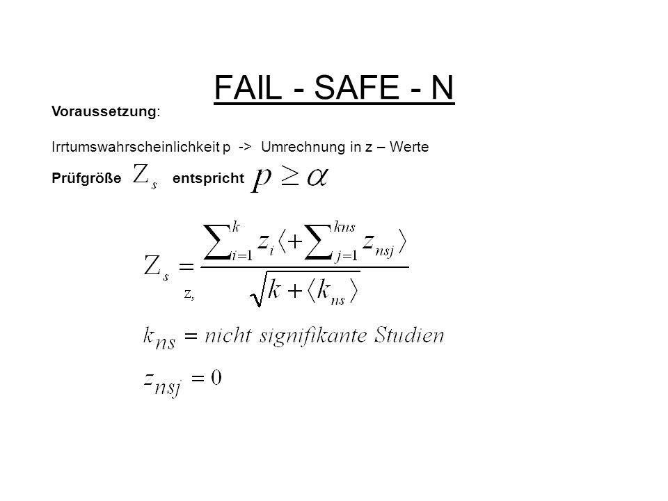 FAIL - SAFE - N Voraussetzung: Irrtumswahrscheinlichkeit p -> Umrechnung in z – Werte Prüfgröße entspricht