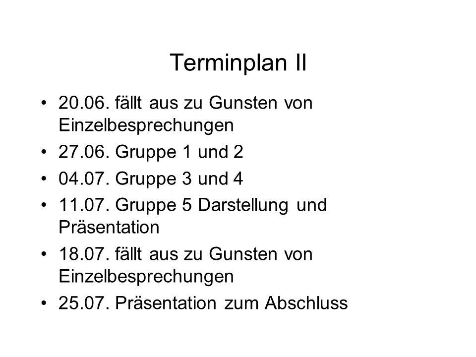 Terminplan II 20.06. fällt aus zu Gunsten von Einzelbesprechungen 27.06. Gruppe 1 und 2 04.07. Gruppe 3 und 4 11.07. Gruppe 5 Darstellung und Präsenta