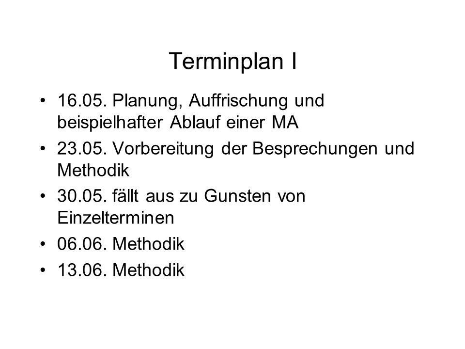 Terminplan I 16.05. Planung, Auffrischung und beispielhafter Ablauf einer MA 23.05.