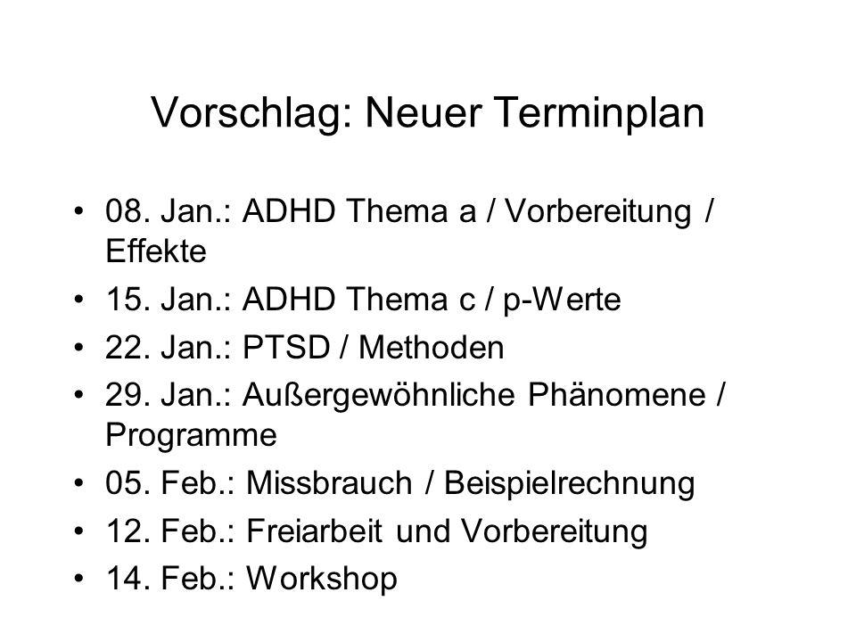 Vorschlag: Neuer Terminplan 08. Jan.: ADHD Thema a / Vorbereitung / Effekte 15.