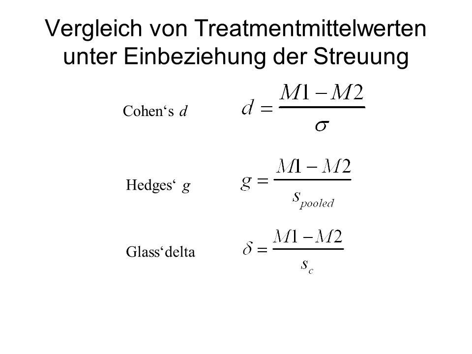 Vergleich von Treatmentmittelwerten unter Einbeziehung der Streuung Cohens d Hedges g Glassdelta