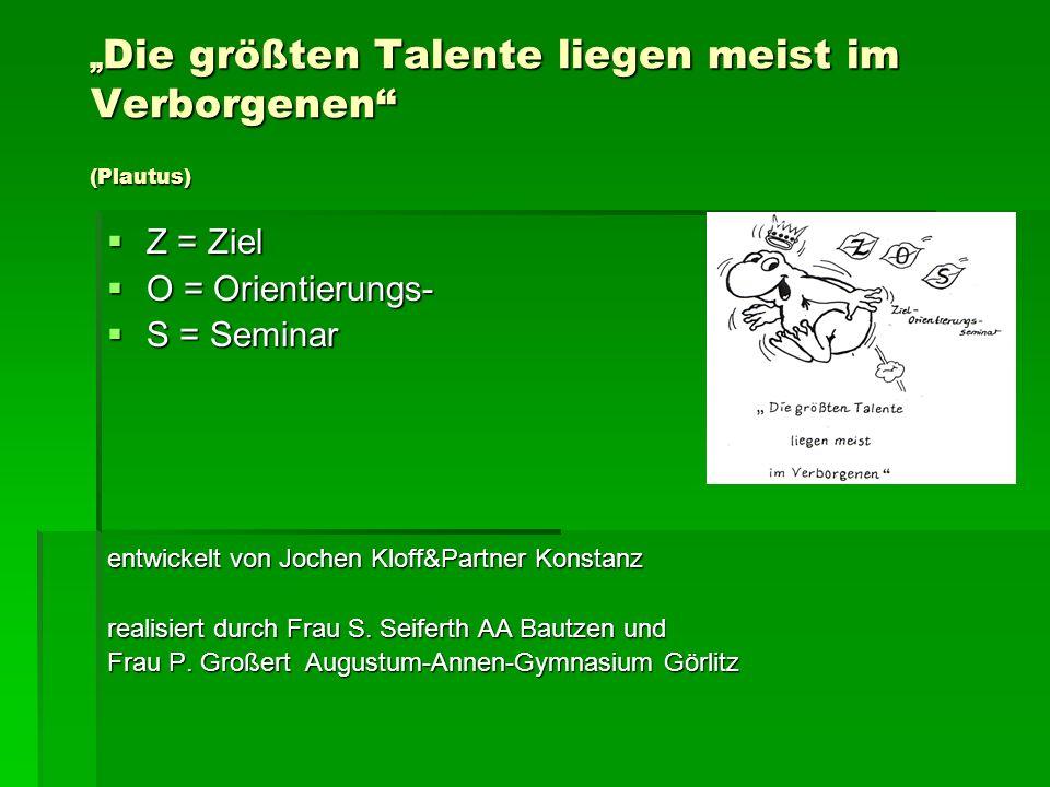 Die größten Talente liegen meist im Verborgenen (Plautus) Die größten Talente liegen meist im Verborgenen (Plautus) Z = Ziel Z = Ziel O = Orientierung