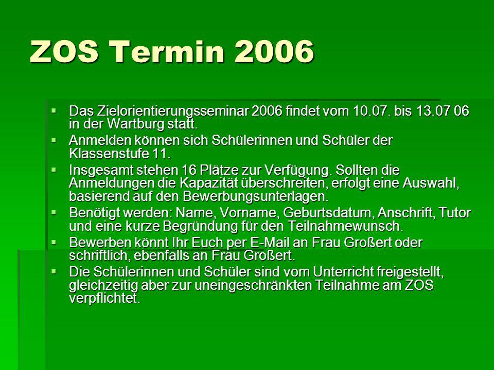 ZOS Termin 2006 Das Zielorientierungsseminar 2006 findet vom 10.07. bis 13.07 06 in der Wartburg statt. Das Zielorientierungsseminar 2006 findet vom 1