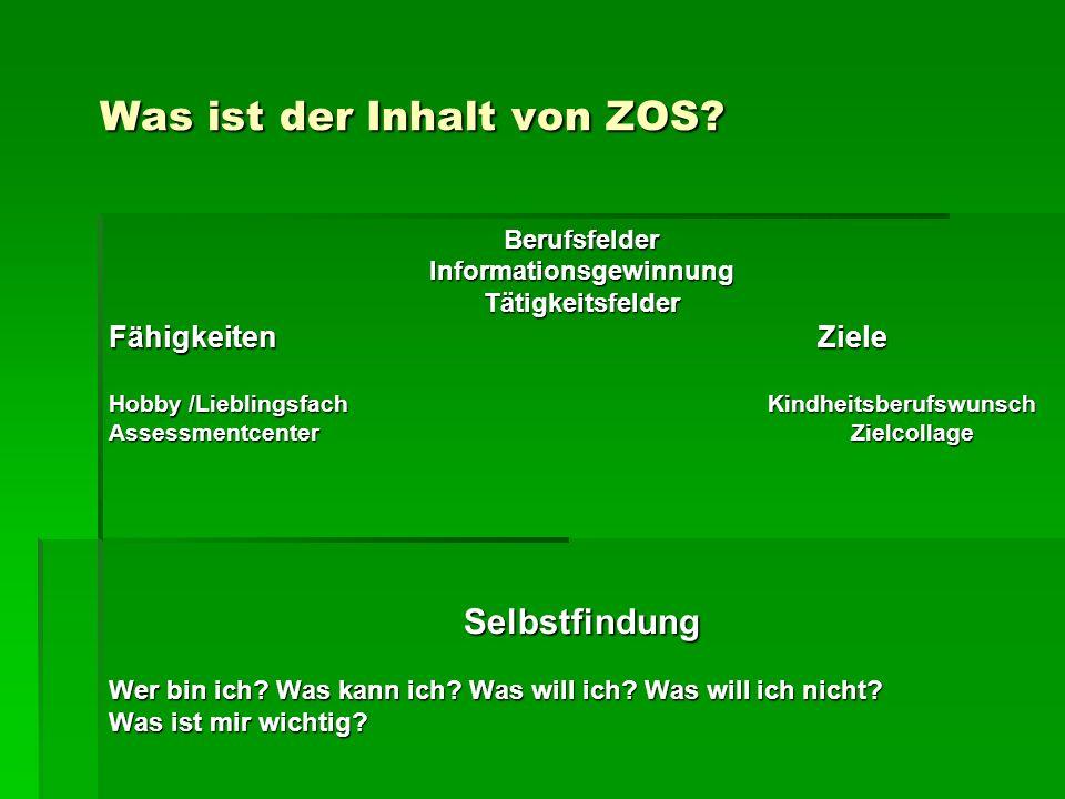 Was ist der Inhalt von ZOS? Was ist der Inhalt von ZOS? BerufsfelderInformationsgewinnungTätigkeitsfelder Fähigkeiten Ziele Hobby /Lieblingsfach Kindh