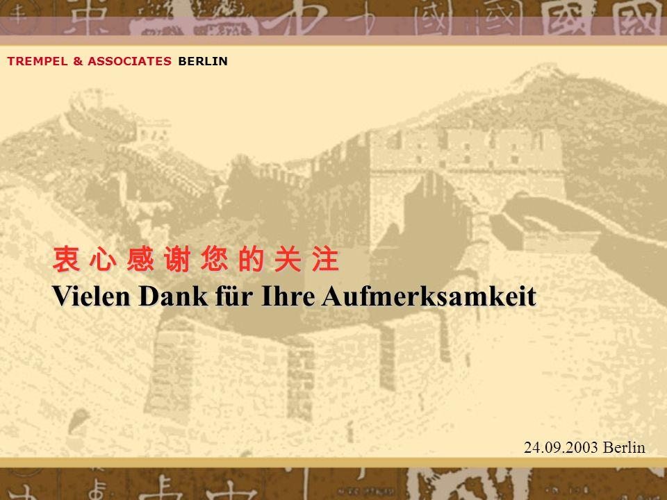 Vielen Dank für Ihre Aufmerksamkeit TREMPEL & ASSOCIATES BERLIN 24.09.2003 Berlin
