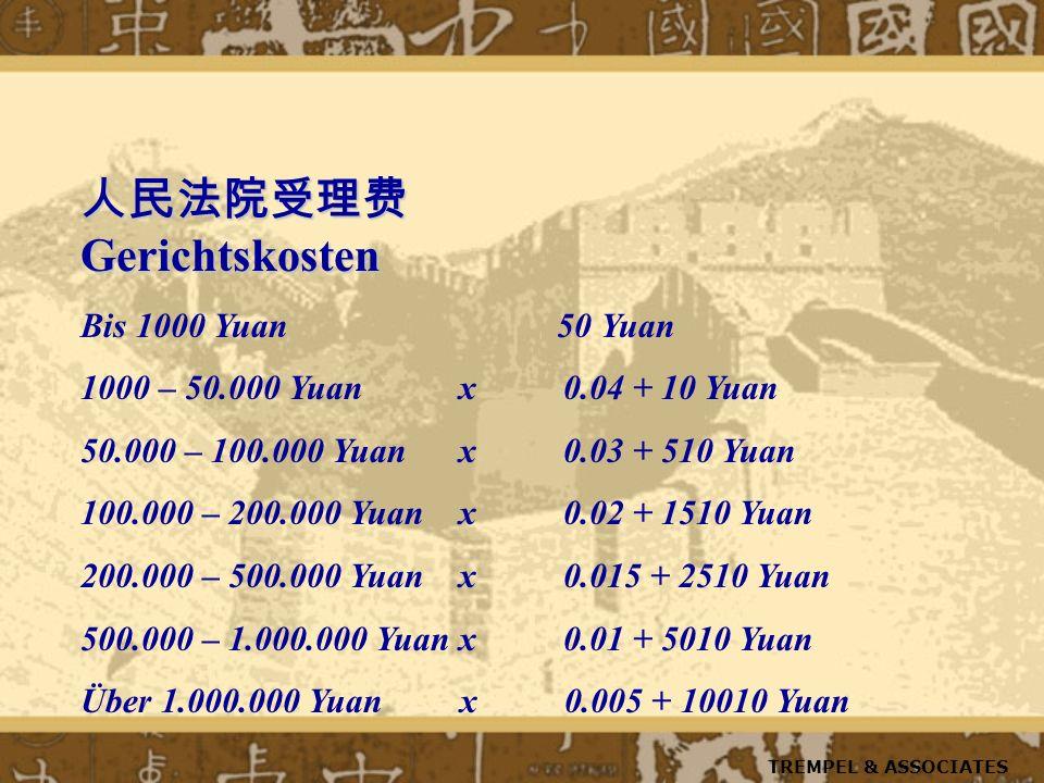 Gerichtskosten Gerichtskosten Bis 1000 Yuan 50 Yuan 1000 – 50.000 Yuan x 0.04 + 10 Yuan 50.000 – 100.000 Yuan x 0.03 + 510 Yuan 100.000 – 200.000 Yuan