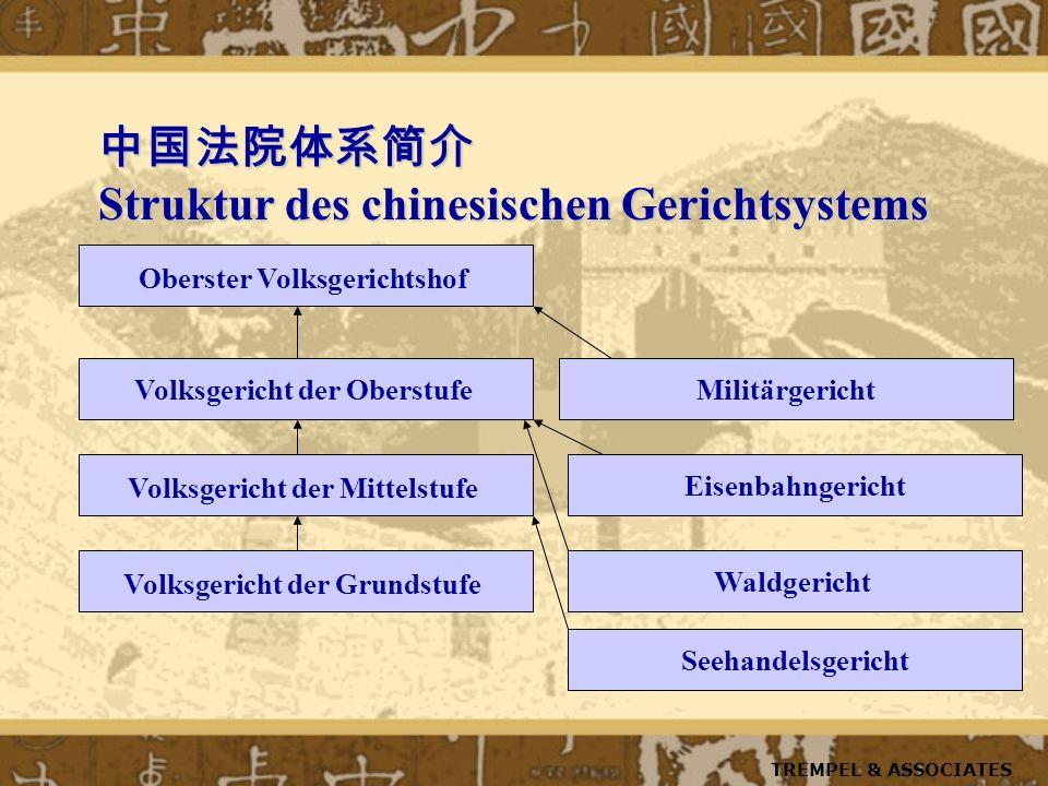 Struktur des chinesischen Gerichtsystems Struktur des chinesischen Gerichtsystems Oberster Volksgerichtshof Volksgericht der Oberstufe Volksgericht de