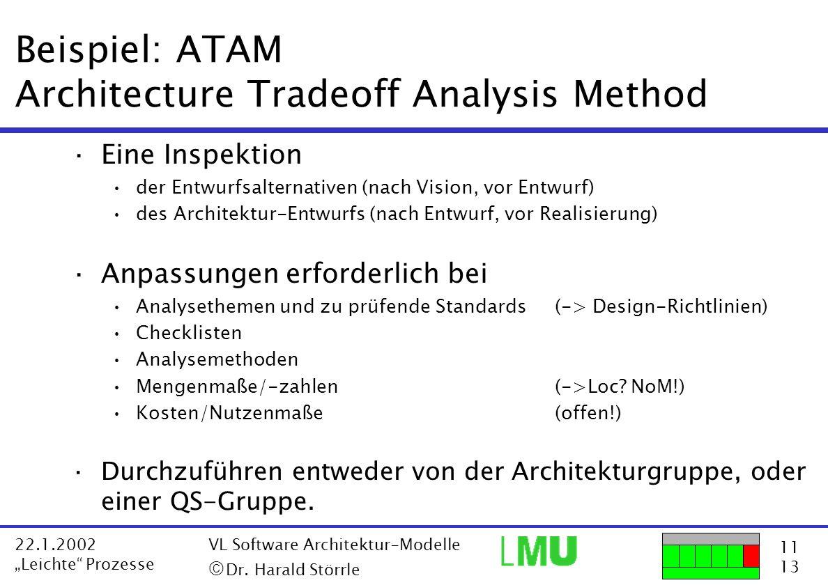11 13 22.1.2002 Leichte Prozesse VL Software Architektur-Modelle Dr. Harald Störrle Beispiel: ATAM Architecture Tradeoff Analysis Method ·Eine Inspekt