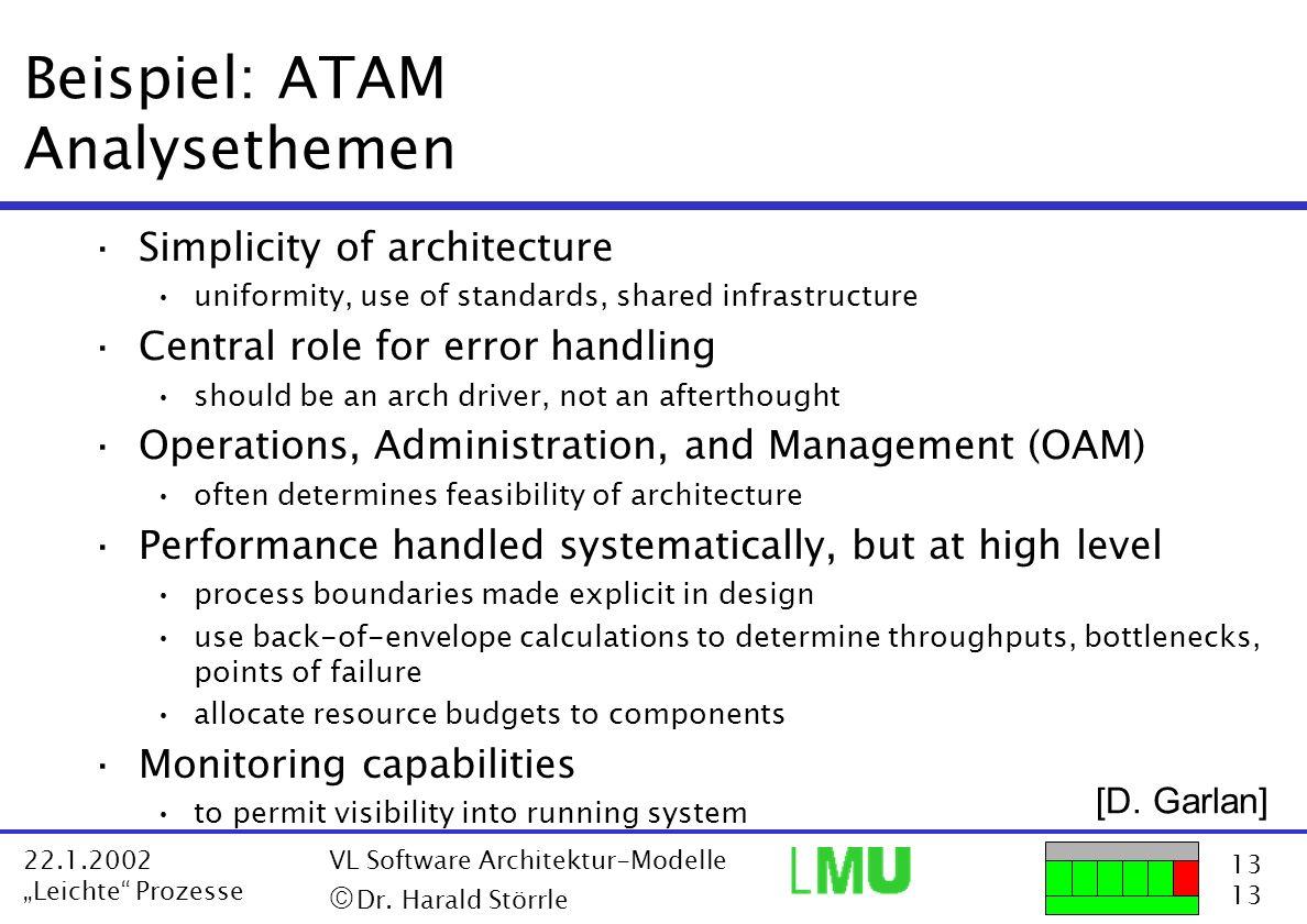 13 22.1.2002 Leichte Prozesse VL Software Architektur-Modelle Dr. Harald Störrle Beispiel: ATAM Analysethemen ·Simplicity of architecture uniformity,