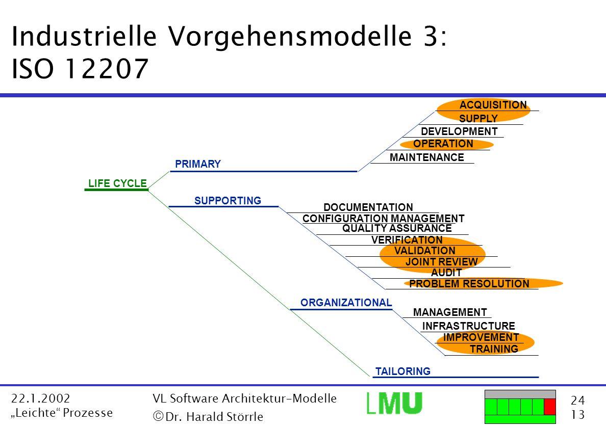 24 13 22.1.2002 Leichte Prozesse VL Software Architektur-Modelle Dr. Harald Störrle Industrielle Vorgehensmodelle 3: ISO 12207 LIFE CYCLE TAILORING CO