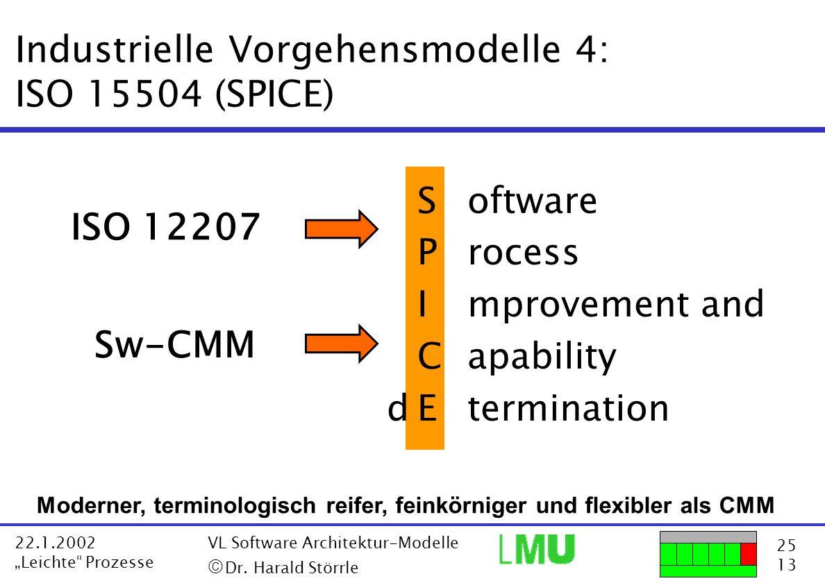 25 13 22.1.2002 Leichte Prozesse VL Software Architektur-Modelle Dr. Harald Störrle Industrielle Vorgehensmodelle 4: ISO 15504 (SPICE) Software Proces