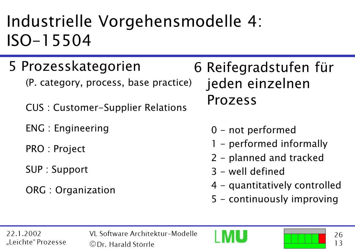 26 13 22.1.2002 Leichte Prozesse VL Software Architektur-Modelle Dr. Harald Störrle Industrielle Vorgehensmodelle 4: ISO-15504 5 Prozesskategorien (P.