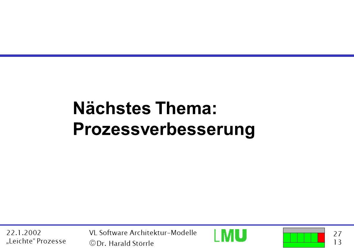 27 13 22.1.2002 Leichte Prozesse VL Software Architektur-Modelle Dr. Harald Störrle Nächstes Thema: Prozessverbesserung
