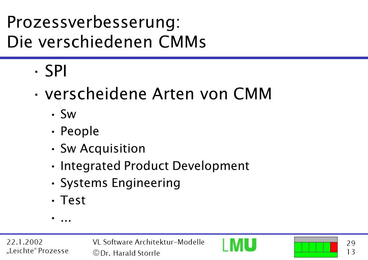29 13 22.1.2002 Leichte Prozesse VL Software Architektur-Modelle Dr. Harald Störrle Prozessverbesserung: Die verschiedenen CMMs ·SPI ·verscheidene Art