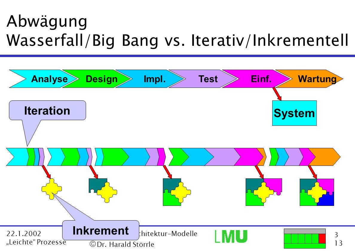 3 13 22.1.2002 Leichte Prozesse VL Software Architektur-Modelle Dr. Harald Störrle Abwägung Wasserfall/Big Bang vs. Iterativ/Inkrementell Analyse Wart