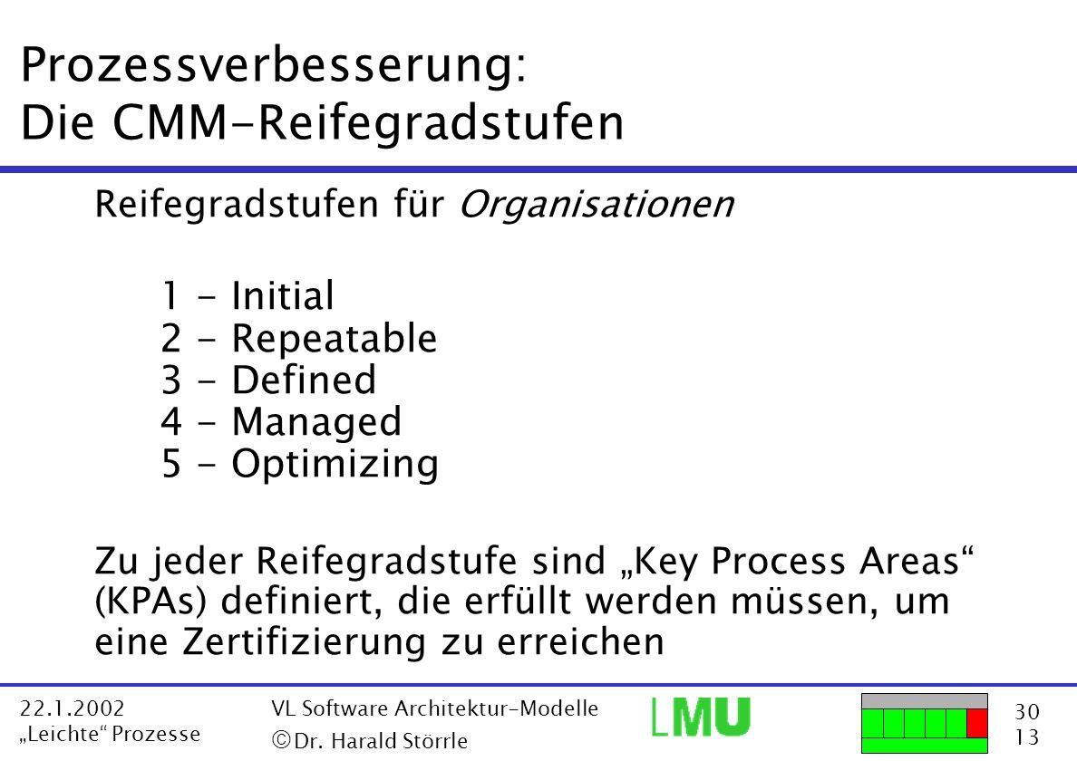 30 13 22.1.2002 Leichte Prozesse VL Software Architektur-Modelle Dr. Harald Störrle Prozessverbesserung: Die CMM-Reifegradstufen Reifegradstufen für O