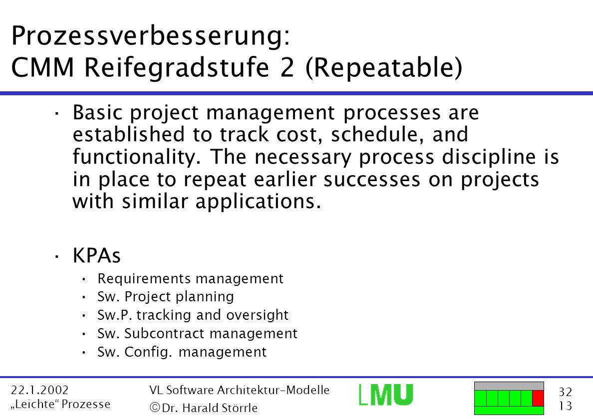 32 13 22.1.2002 Leichte Prozesse VL Software Architektur-Modelle Dr. Harald Störrle Prozessverbesserung: CMM Reifegradstufe 2 (Repeatable) ·Basic proj