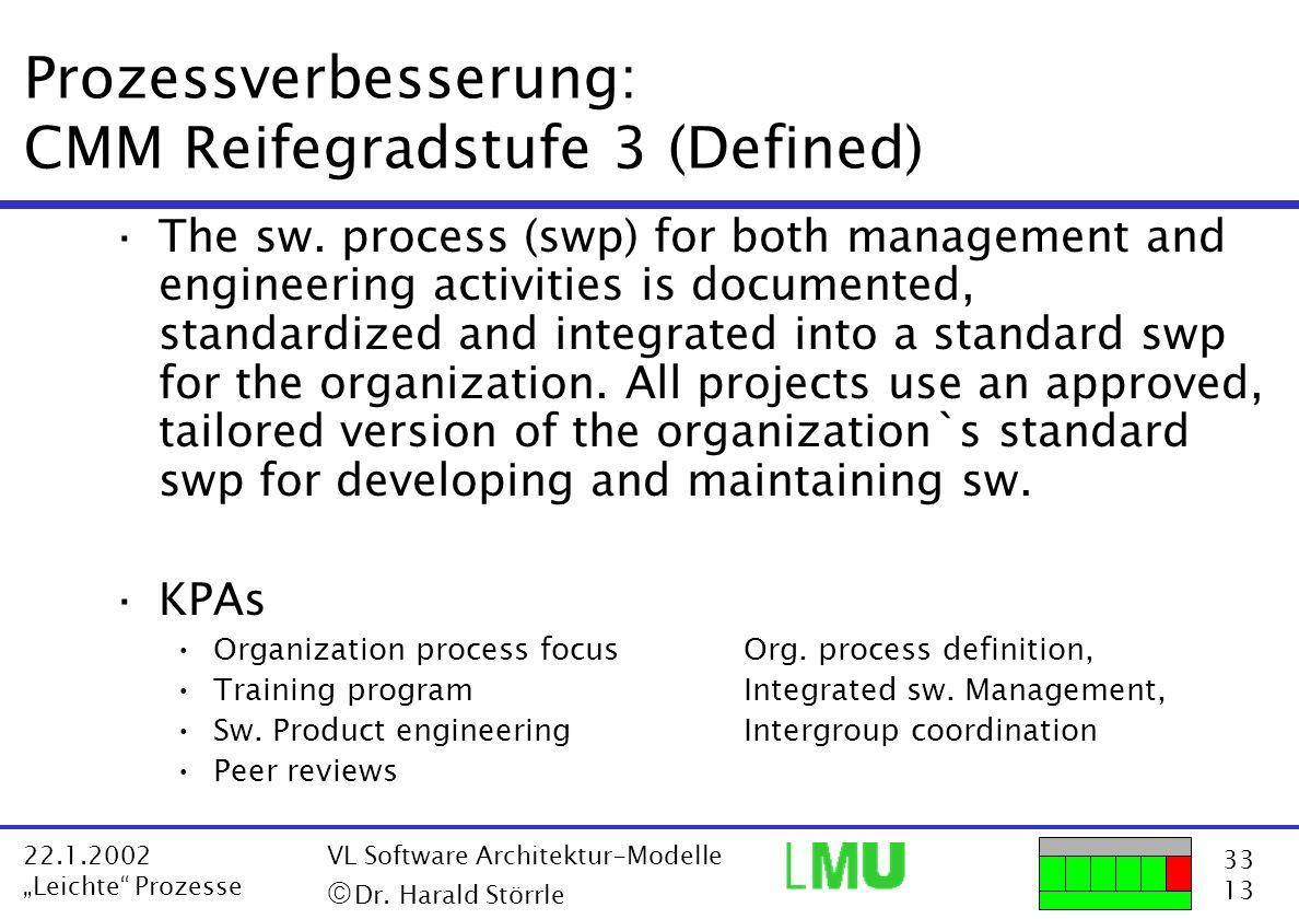 33 13 22.1.2002 Leichte Prozesse VL Software Architektur-Modelle Dr. Harald Störrle Prozessverbesserung: CMM Reifegradstufe 3 (Defined) ·The sw. proce