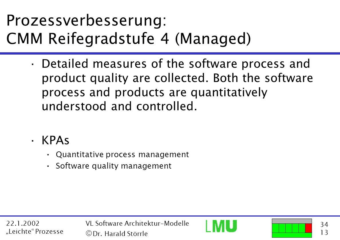 34 13 22.1.2002 Leichte Prozesse VL Software Architektur-Modelle Dr. Harald Störrle Prozessverbesserung: CMM Reifegradstufe 4 (Managed) ·Detailed meas