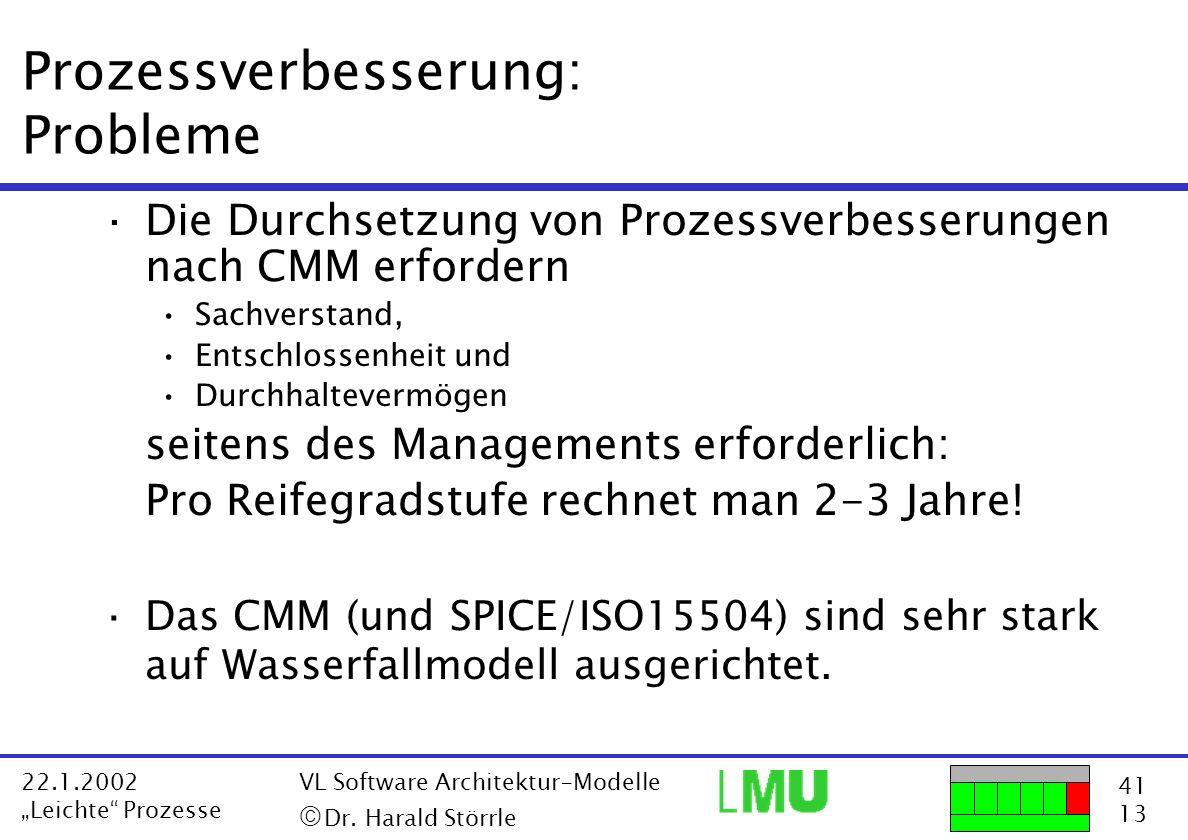 41 13 22.1.2002 Leichte Prozesse VL Software Architektur-Modelle Dr. Harald Störrle Prozessverbesserung: Probleme ·Die Durchsetzung von Prozessverbess