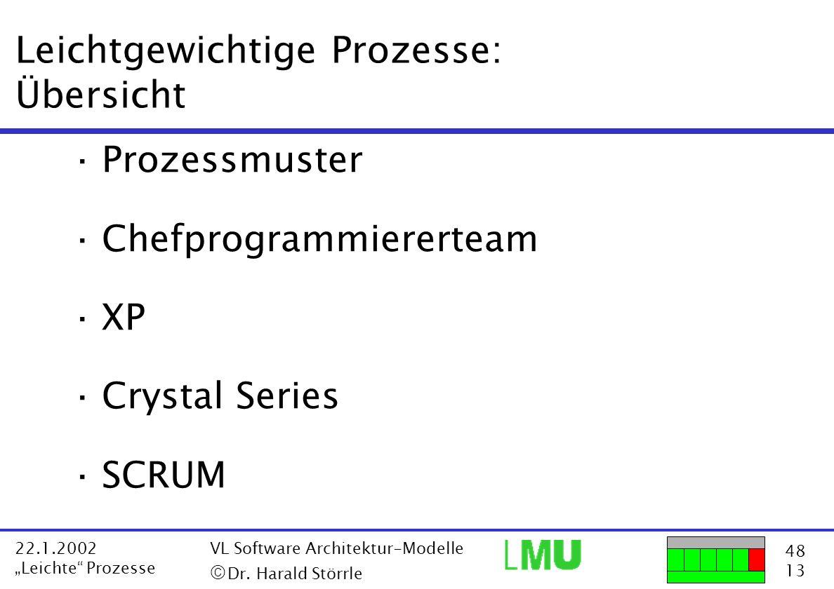 48 13 22.1.2002 Leichte Prozesse VL Software Architektur-Modelle Dr. Harald Störrle Leichtgewichtige Prozesse: Übersicht ·Prozessmuster ·Chefprogrammi