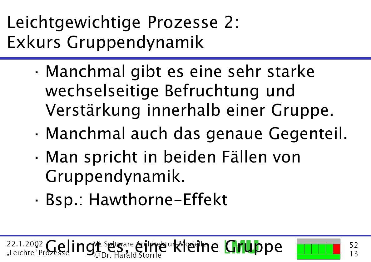 52 13 22.1.2002 Leichte Prozesse VL Software Architektur-Modelle Dr. Harald Störrle Leichtgewichtige Prozesse 2: Exkurs Gruppendynamik ·Manchmal gibt