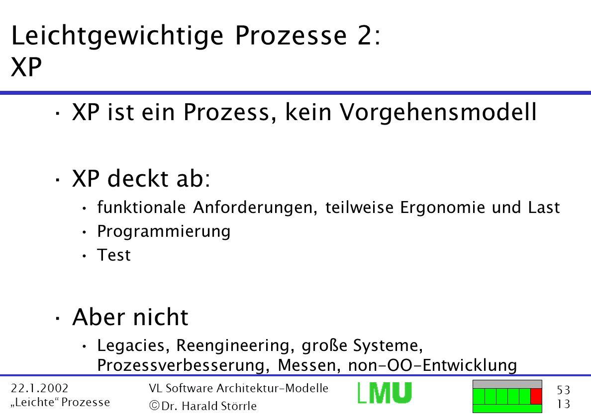 53 13 22.1.2002 Leichte Prozesse VL Software Architektur-Modelle Dr. Harald Störrle Leichtgewichtige Prozesse 2: XP ·XP ist ein Prozess, kein Vorgehen