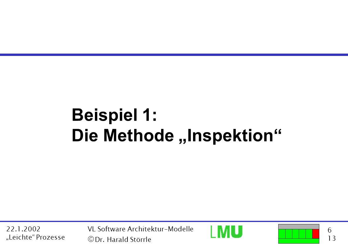6 13 22.1.2002 Leichte Prozesse VL Software Architektur-Modelle Dr. Harald Störrle Beispiel 1: Die Methode Inspektion