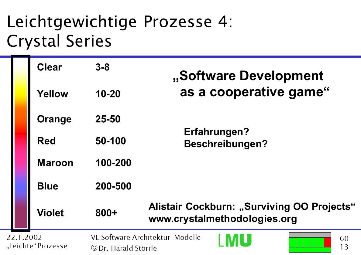 60 13 22.1.2002 Leichte Prozesse VL Software Architektur-Modelle Dr. Harald Störrle Leichtgewichtige Prozesse 4: Crystal Series Clear3-8 Yellow10-20 O