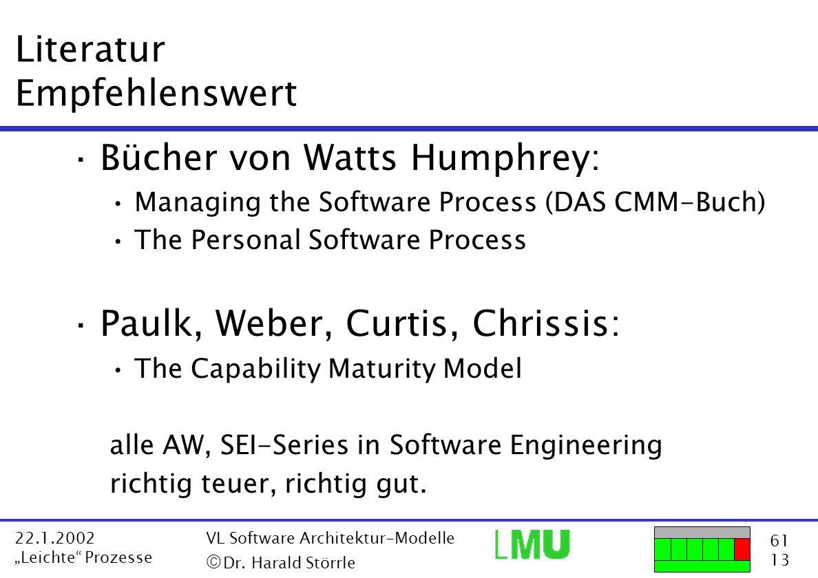 61 13 22.1.2002 Leichte Prozesse VL Software Architektur-Modelle Dr. Harald Störrle Literatur Empfehlenswert ·Bücher von Watts Humphrey: Managing the