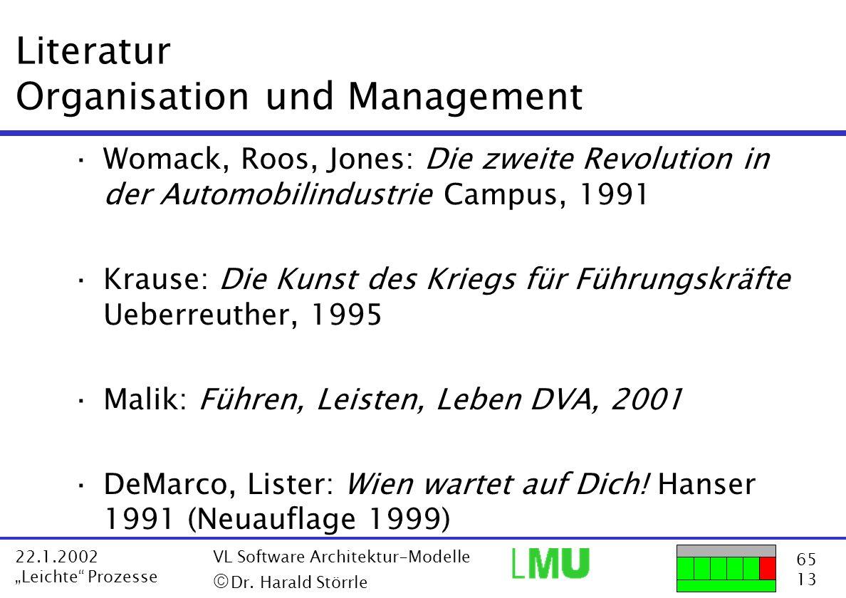65 13 22.1.2002 Leichte Prozesse VL Software Architektur-Modelle Dr. Harald Störrle Literatur Organisation und Management ·Womack, Roos, Jones: Die zw