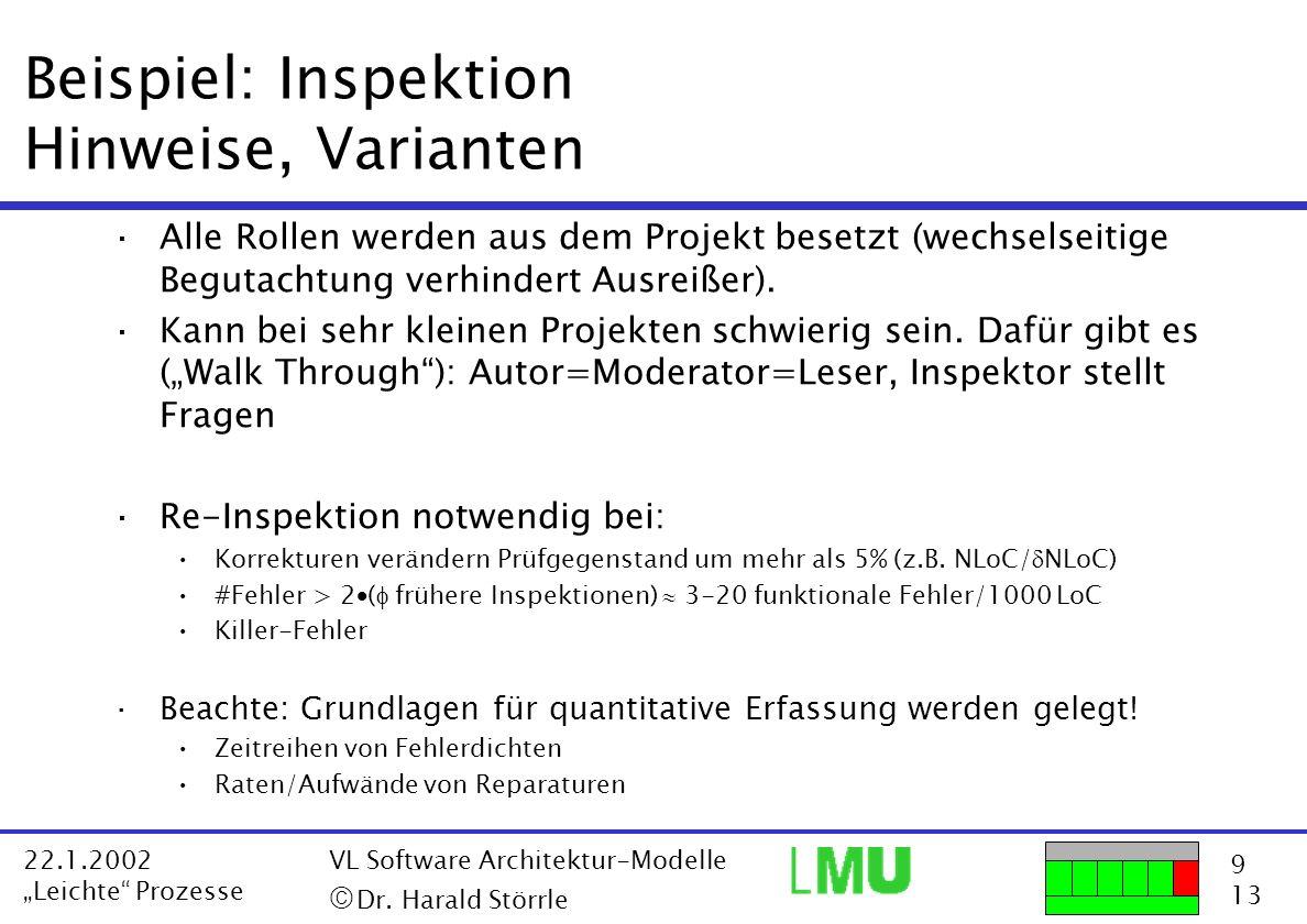 9 13 22.1.2002 Leichte Prozesse VL Software Architektur-Modelle Dr. Harald Störrle Beispiel: Inspektion Hinweise, Varianten ·Alle Rollen werden aus de
