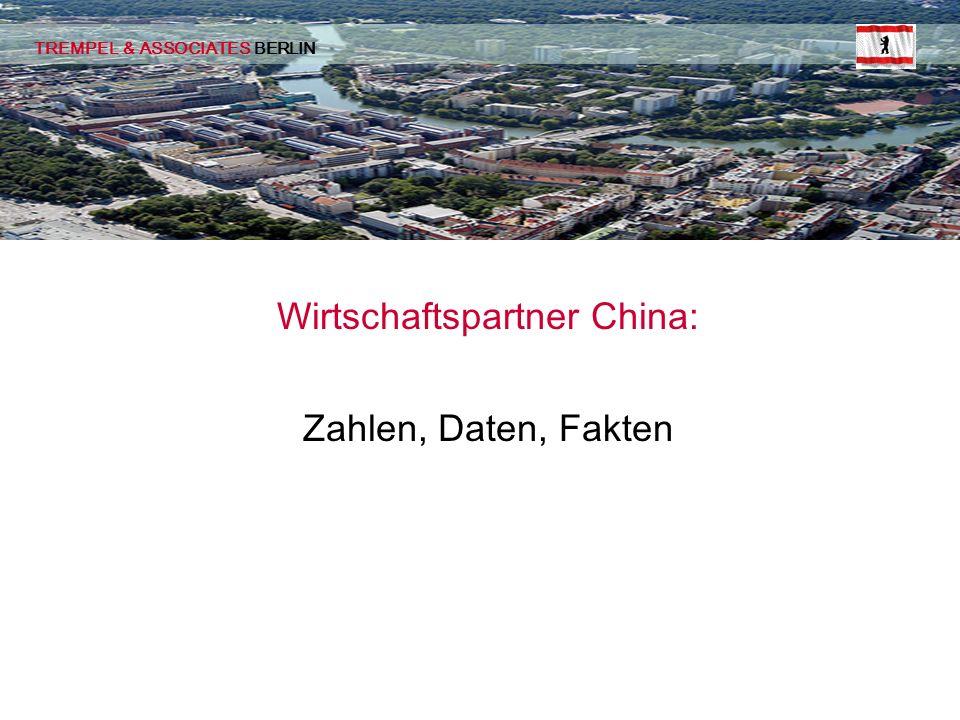 Wirtschaftspartner China: Zahlen, Daten, Fakten TREMPEL & ASSOCIATES BERLIN