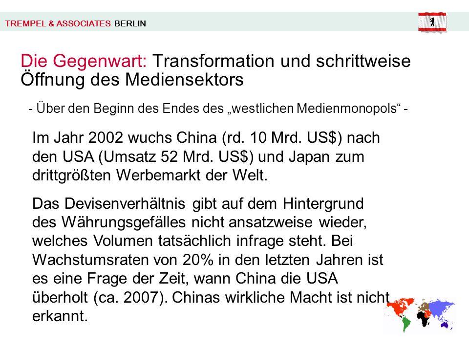 TREMPEL & ASSOCIATES BERLIN Die Gegenwart: Transformation und schrittweise Öffnung des Mediensektors Im Jahr 2002 wuchs China (rd.