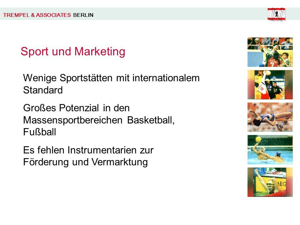 TREMPEL & ASSOCIATES BERLIN Sport und Marketing Wenige Sportstätten mit internationalem Standard Großes Potenzial in den Massensportbereichen Basketball, Fußball Es fehlen Instrumentarien zur Förderung und Vermarktung