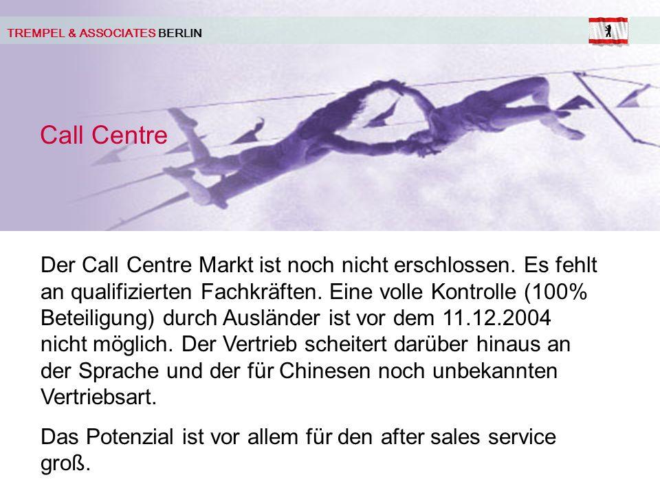 TREMPEL & ASSOCIATES BERLIN Call Centre Der Call Centre Markt ist noch nicht erschlossen.