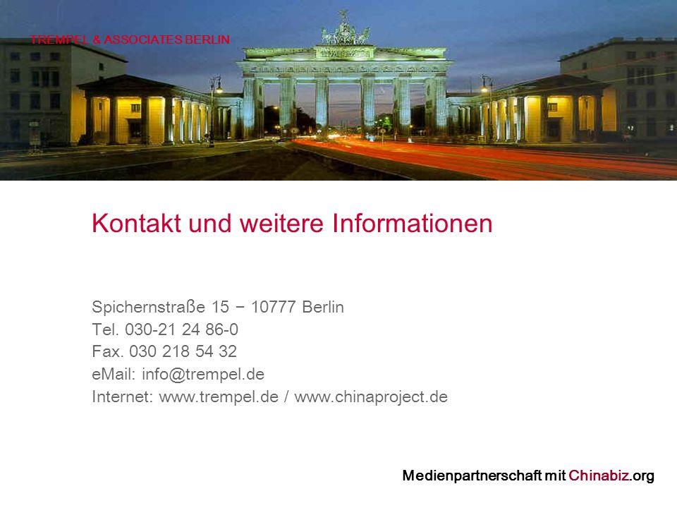 TREMPEL & ASSOCIATES BERLIN Spichernstra ß e 15 – 10777 Berlin Tel.