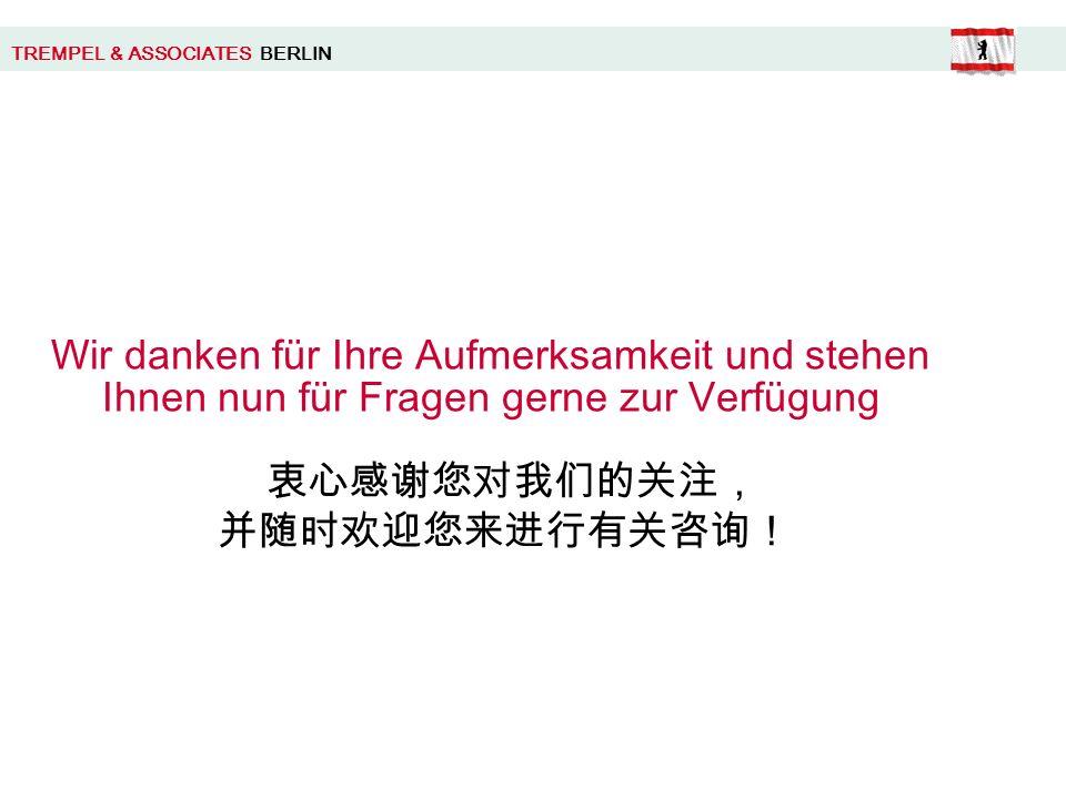TREMPEL & ASSOCIATES BERLIN Wir danken für Ihre Aufmerksamkeit und stehen Ihnen nun für Fragen gerne zur Verfügung
