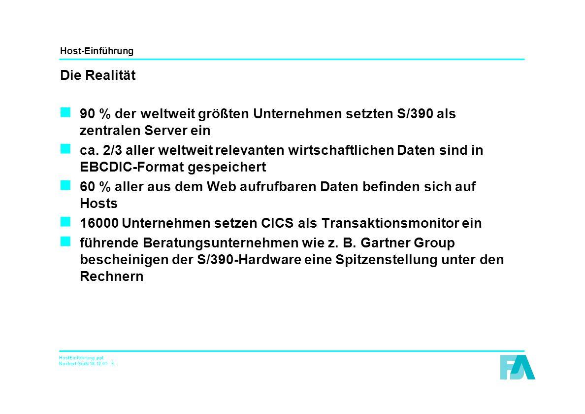 Host-Einführung HostEinführung.ppt Norbert Graß/18.12.01 - 3- Die Realität n 90 % der weltweit größten Unternehmen setzten S/390 als zentralen Server ein n ca.