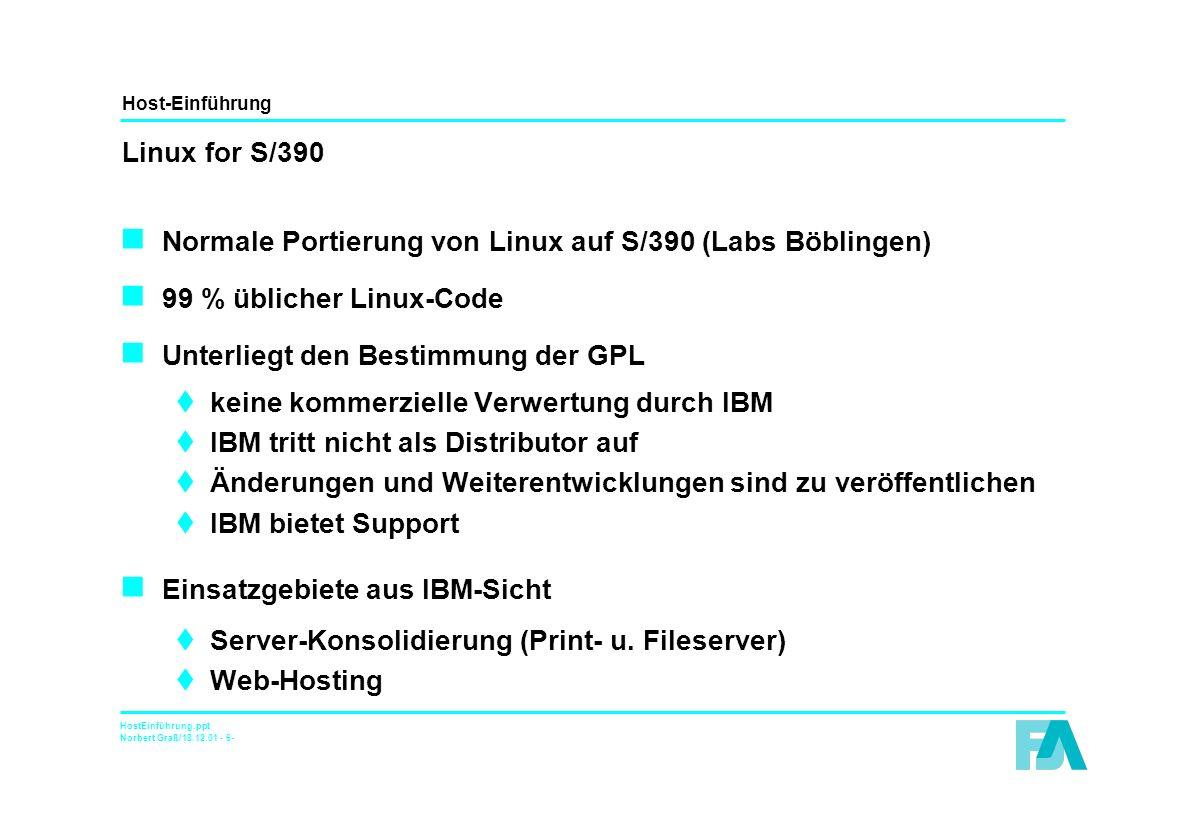 Host-Einführung HostEinführung.ppt Norbert Graß/18.12.01 - 7- Installations- und Betriebsmöglichkeiten (I)