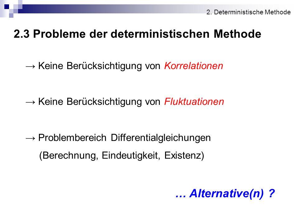 2.3 Probleme der deterministischen Methode 2. Deterministische Methode Keine Berücksichtigung von Korrelationen Keine Berücksichtigung von Fluktuation