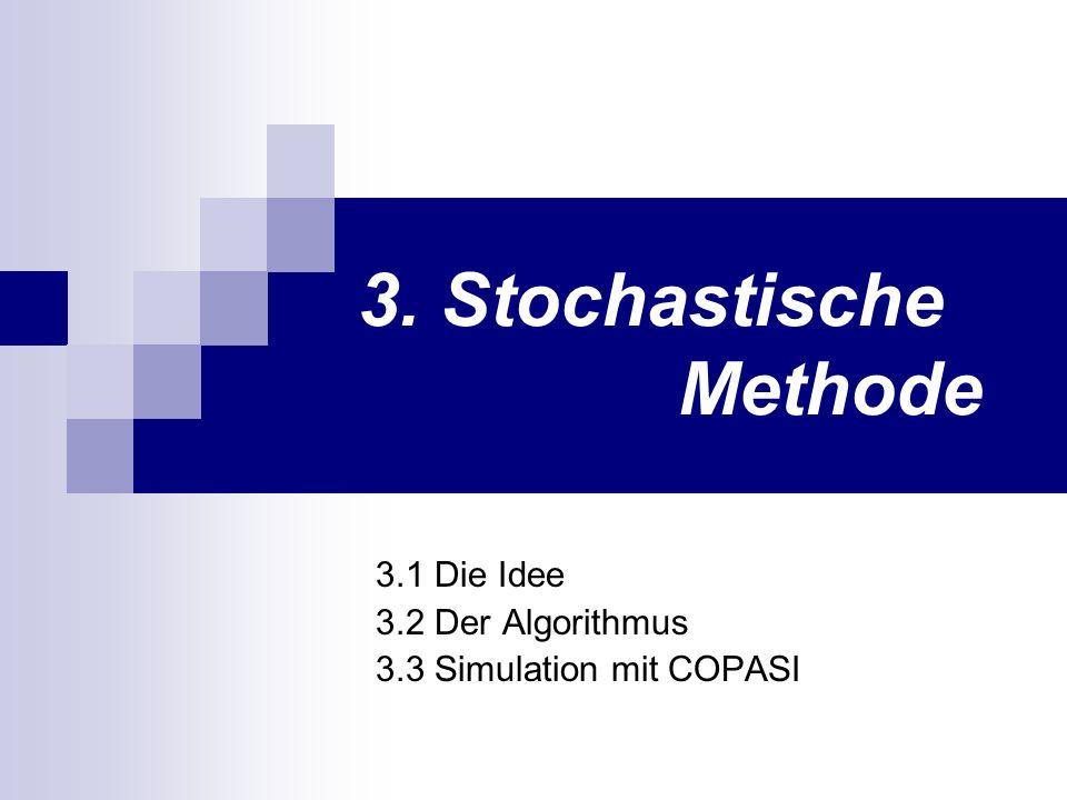 3. Stochastische Methode 3.1 Die Idee 3.2 Der Algorithmus 3.3 Simulation mit COPASI