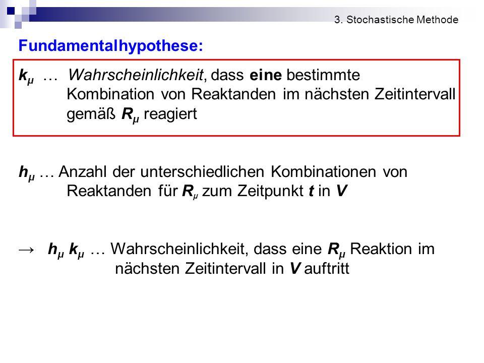 Fundamentalhypothese: k μ … Wahrscheinlichkeit, dass eine bestimmte Kombination von Reaktanden im nächsten Zeitintervall gemäß R μ reagiert h μ … Anza
